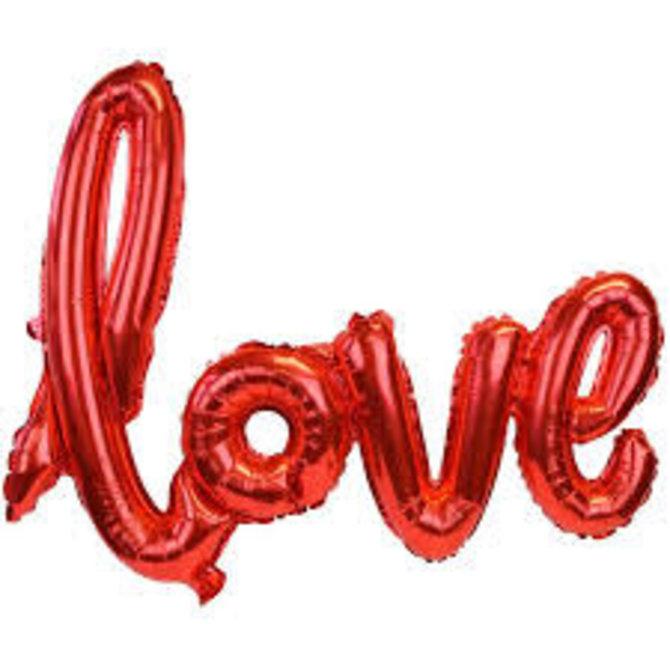 "Foil Balloon Script Phrase ""Love""- Red"