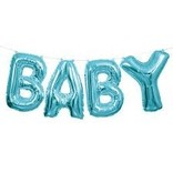 "Foil Balloon Script Phrase ""Baby""- Light Blue"