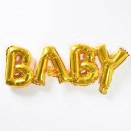 """Foil Balloon Script Phrase """"Baby""""- Gold"""