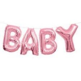 "Foil Balloon Script Phrase ""Baby""- Light Pink"