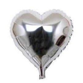 """Silver Heart Shape Foil Balloon, 18"""""""
