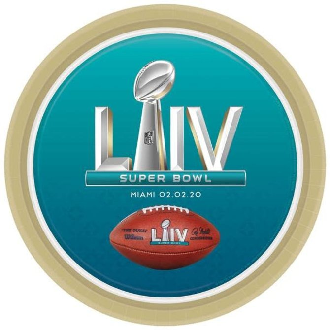 "Super Bowl LIV Paper Plates 9"", 8ct"