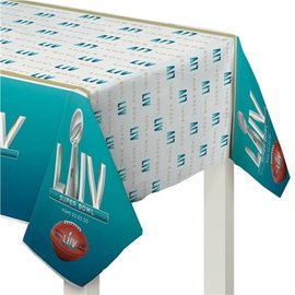 "Super Bowl LIV Plastic Table Cover, 54"" x 102"""