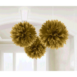 Gold Paper Fluffy Decorations, 3 ct