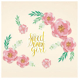Floral Baby Backdrop - Foil Hot-Stamped