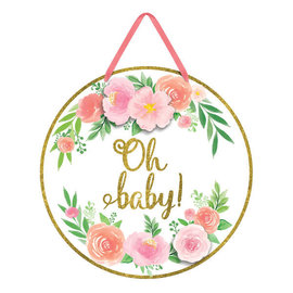 Floral Baby Cardboard Sign with Glitter