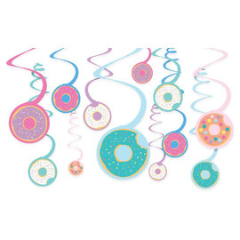 Donut Party Value Pack Spiral Decorations -12ct