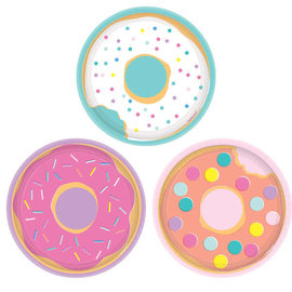 "Donut Party Assorted Round Plates, 7"" -8ct"