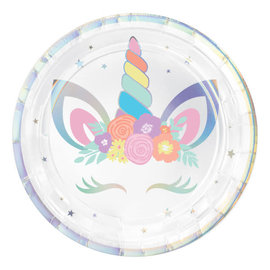 "Unicorn Party Round Iridescent Plates, 7"""