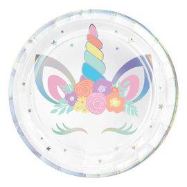"Unicorn Party Round Iridescent Plates, 9"" -8ct"