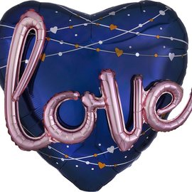 Navy Wedding Love  Foil Balloon, 36""