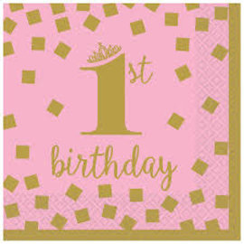 Pink and Gold 1st Birthday Beverage Napkins, 16 ct