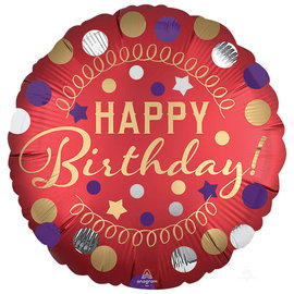 "Red Satin Happy Birthday Foil Balloon, 18"""