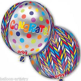 """Dotty Geo Congrats Orbz Balloon, 16"""""""