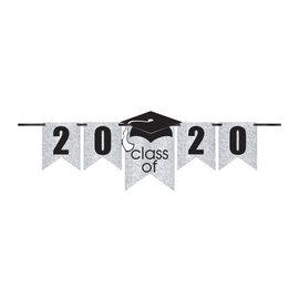 Grad Personalized Glitter Paper Letter Banner Kit - White, 12'