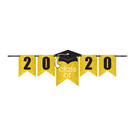 Grad Personalized Glitter Paper Letter Banner Kit - Yellow, 12'