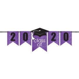 Grad Personalized Glitter Paper Letter Banner Kit - Purple, 12'