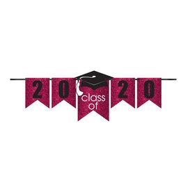 Grad Personalized Glitter Paper Letter Banner Kit - Berry, 12'