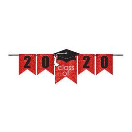 Grad Personalized Glitter Paper Letter Banner Kit - Red, 12'