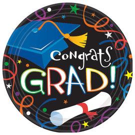 "Colorful Grad Celebration 9"" Round Plates- 8ct"