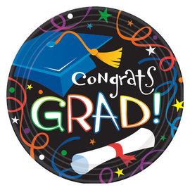 "Colorful Grad Celebration Round Plates, 7"" -8ct"