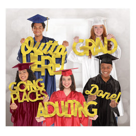 Grad Photo Booth Large Party Word Props -5ct