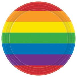 "Rainbow Round Plates, 7"" -8ct"