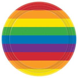 "Rainbow Round Plates, 9"" -8ct"