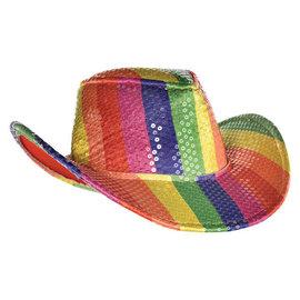Rainbow Sequin Cowboy Hat