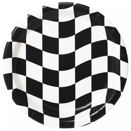 "Black & White Check 9"" Paper Plates, 12 ct"