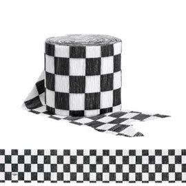 Black & White Check Crepe Streamer, 30'