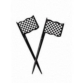 Black & White Check Picks, Plastic Flag 12 ct