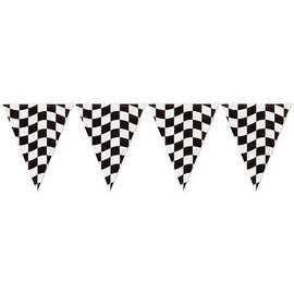 Black & White Check Plastic Flag Banner, 12'