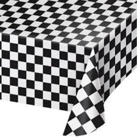 "Black & White Check Plastic Tablecover, 54""x108"""