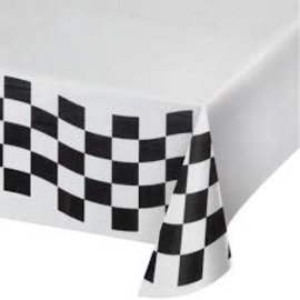 "Black & White Check Tissue Tablecover 54""x102"", Poly Backing"