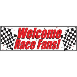 "Black & White Giant Race Party Banner, 20"" x 60"""