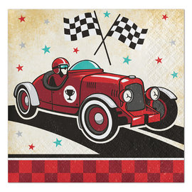 Vintage Race Car Beverage Napkins, 16 ct