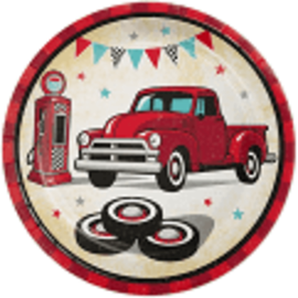 "Vintage Red Truck 7"" Paper Plates, 8 ct"