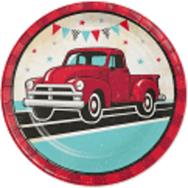 "Vintage Red Truck 9"" Paper Plate, 8 ct"