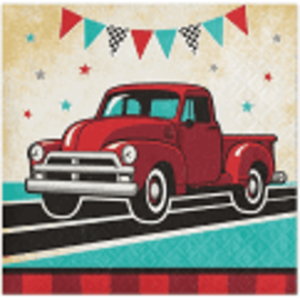 Vintage Red Truck Beverage Napkins, 16 ct