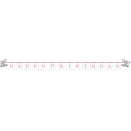 "Enchanting Elephant Girl 1st Birthday Banner, 6"" x 8'"