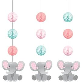 Enchanting Elephant Girl Hanging Cutouts, 3ct