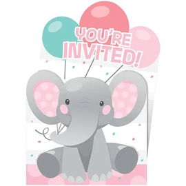 Enchanting Elephant Girl Pop-Up Invitiations, 8 ct
