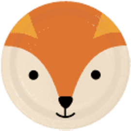 "Fox Animal Face 9"" Paper Plates, 8 ct"