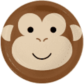 "Monkey Animal Face 7"" Paper Plates, 8 ct"