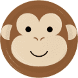 "Monkey Animal Face 9"" Paper Plates, 8 ct"