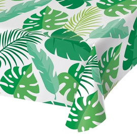 "Woodland Animals Palm Leaves Plastic Tablecover, 54"" x 108"""