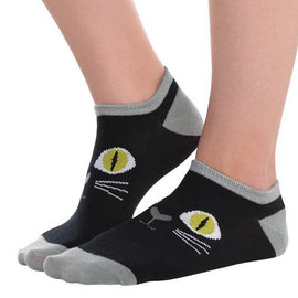Black Cat No Show Socks
