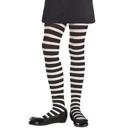 White/Black Striped Tights - Child S/M