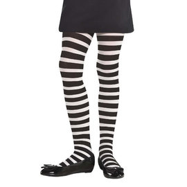 White/Black Striped Tights - Child M/L